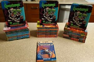 Goosebumps Books Lot of 31 w/ Rare Book Vault Tins and Werewolf Skin #60
