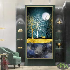 Abstract Golden Moon And Tree Canvas Art Deer Poster Print Home Decor Wall Art