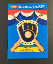 1989 Fleer Baseball Sticker Card Milwaukee Brewers Retro Logo Team History Back