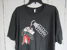Mens BlackHawks T-shirt Size 3Xl Charcoal Color With Logo And Stanley Cup A2