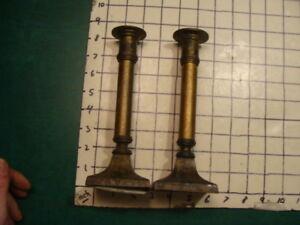 EARLY vintage METAL & WOOD -- candlesticks, pair;