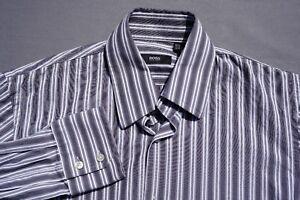 Hugo Boss 'Enzo' Long Sleeve Dress, Sport, Shirt. Gray Stripe, Men's 15.5 34/35.