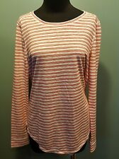 Ann Taylor LOFT Red White Striped Modal Polyester Long Sleeve Knit Casual Top S