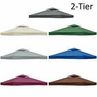 2-Tier 3x3m Garden Gazebo Top  Roof Replacement Fabric Tent Canopy   U