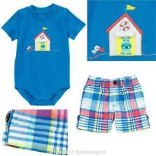 NWT Gymboree 18 24 mos HIPPOS & BLUES Baby Boy 2pc 3-D Top & Plaid Shorts