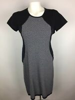 Ann Taylor Size Small Womens Shift Dress Stretch Navy Blue White Short Sleeve