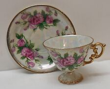 Teacup and Saucer Pink Flowers White Iridescent Fancy Handle April Sweet Pea