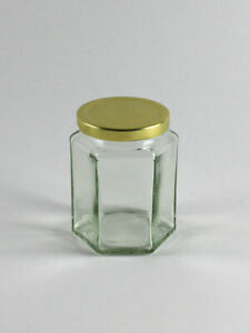 12oz (Hex) Hexagonal Glass Jar for Food Jam Chutney Pickle Honey Favours Sweets