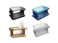 2 Tier Large Dish Drainer Rack Tray Utensil Cutlery Kitchen Plate Holder Plastic