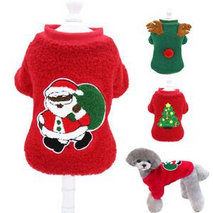Dog Christmas Jumper Cute Santa Claus Sweater Cozy Warm Fleece Winter T-Shirt