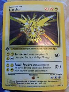 1999 POKEMON 16/102 ELECTHOR HOLO 1ST EDITION FRENCH PLAYED