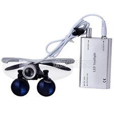 3.5X Dental Surgical Medical Binocular Loupes + LED Head Light Lamp Silver HOT