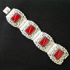 AbFab Mexican Sterling Silver and Red Coral Bracelet Guadalajara Signed ALC .925