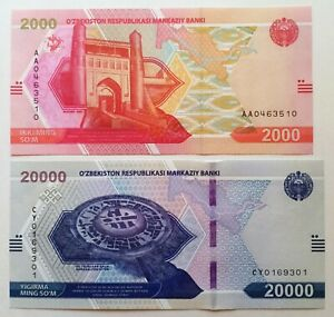NEW!!! Uzbekistan set 2000 & 20000 sum / som 2021 UNC