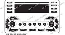 04 05 06 07 GM RADIO Button Repair Decals Stickers Pontiac Torrent