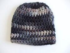 Beanie Mütze Häkelmütze grau-braun-schwarz-beige