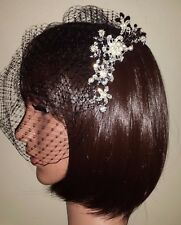 "Black birdcage veil. Pearl and diamante flower comb Gothic veil 9""."