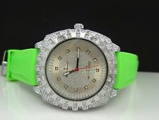 Charles Raymond 5117 Crystal Embellished Silver Tone Bezel/Dial Green Band Watch