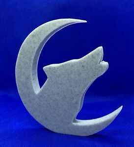 Wolf in Moon Shape Home Ornament 10x10x1cm - Various Colours