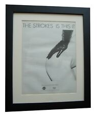THE STROKES+Is This It+POSTER+AD+RARE ORIGINAL 2001+FRAMED+EXPRESS GLOBAL SHIP