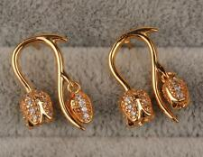 18K Yellow Gold Filled - 3D Flower White Topaz Wedding Stud Gemstone Earrings