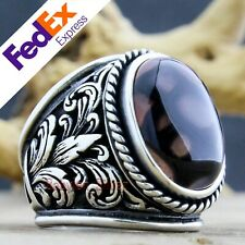 Natural Dragon Veins Agate Stone 925 Sterling Silver Turkish Handmade Men's Ring
