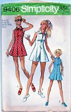 Vtg Tennis Sports Dress Pattern Sz 12 Princess Seams Zipper Front Shorts 1971