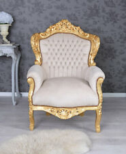 Fauteuil Shabby Chic France Chaise Vintage Beige Rococo Style trone bois dore