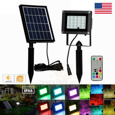 10W RGB 20 LED Spotlight Outdoor Solar Power Security Flood Lights Garden Remote