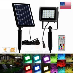 10W RGB 20 LED Spotlight Outdoor Solar Power Security Flood Lights Garden Remote
