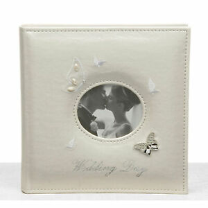 """Ivory Wedding Butterfly Photo Album Large 22cm High 40 Pages Takes 5"""" x 7"""" 13cm"""