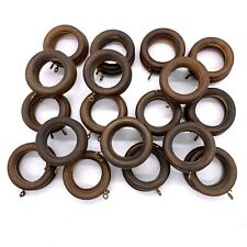 36 Wooden Drapery Curtain Rod Rings Brown, Wood Rings With Eyelet