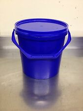 5 X 10 Litre Plastic bucket with lid Food Grade In Blue NEW see Details