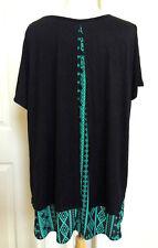 WOMEN *NEW PLUS SIZE XL SUMMER BLACK BACK GREEN GEOMETRIC SCOOP NECK TOP DRESS