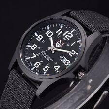 Montre Militaire Homme A Quartz Sport Bracelet En Tissus Date Couleur Noir