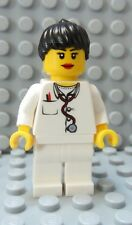 LEGO Girl Female Doctor Nurse White Torso and Legs Black Ponytail Hair