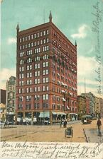 Rochester New York~Wilder Building~Trolley~Trash Cart in Main Street~Stores~1907