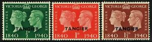 SG 248-250 MOROCCO AGENCIES (TANGIER) 1940 STAMP CENTENARY SET - MOUNTED MINT