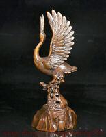 """8.2 """"Chine Buis Sculpté À La Main Grue à couronne rouge Oiseaux Statue Sculpture"""