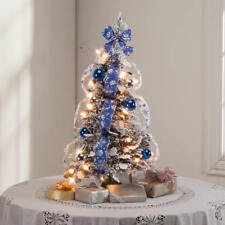 2 Foot Tall Pop Up Fully Decorated Pre-Lit Silver & Blue Frosted Christmas Tree