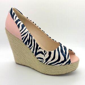 Ladies Pink Black Zebra Wedge Sandals Shoes Size 4 UK EU 37 Women Summer Holiday
