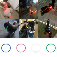 Safety LED Dog Collar Light-up Flash Collars USB Rechargeable For Pet Adjustable