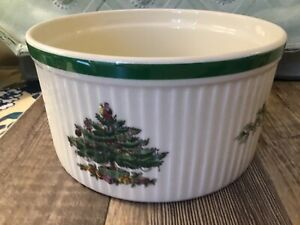 """Oven to Table SPODE Christmas Tree Fluted Souffle Dish Baking Bowl 7""""w x 3.75""""d"""