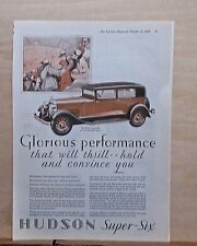 1928 magazine ad for Hudson - Super Six Standard Sedan, football game crowd