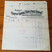 1893 Antique Invoice German Looking Glass Plate Co of New York, NY to H.S. Swan