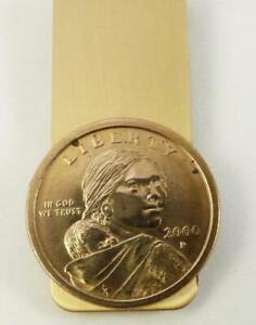 Sacagawea 2000 Dollar Coin On A Brass Money Clip