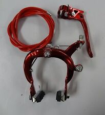 Brake MX Red Rear Caliper Steel Side Pull BMX 20 in Bike Bicycle Handle & Cable