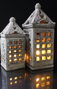 """Light Garden INDOOR/OUTDOOR LARGE CEMENT LANTERN Awesome! 6.5x15.25"""" 479341 NEW"""