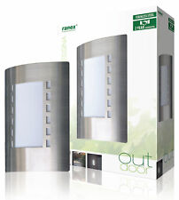 Brushed Steel Entrance Door Outdoor Wall Light 60W Contemporary 2 PACK