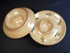 """Pottery flat egg cups speckled brown hand thrown & painted daisies 4.5"""" wide"""